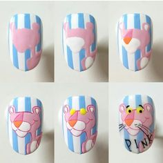 Image may contain: 1 person Nail Art Dessin, Art Deco Nails, Disney Nail Designs, Anime Nails, Mickey Nails, Nailart, Animal Nail Art, Cat Nails, Nail Swag