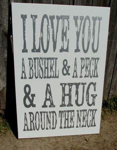 Vintage distressed sign I love you a bushel by HeritageDesignsTH, $45.00