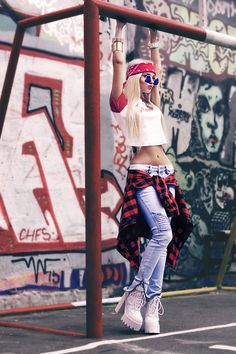 best website deae7 53d30 Kristina Dolinskaya - Bandana Scarf, Baewatch T Shirt, Plaid Shirt, Blue  Jeans -