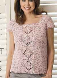 Free Pattern: Just My Size Top - This form-fitting summer top stitched in stretchable sock yarn features a pretty lace flower panel and is constructed by using individual body measurements rather than preset sizes. Crochet Tunic, Crochet Clothes, Free Crochet, Crochet Tops, Top Pattern, Free Pattern, Just My Size, Crochet Woman, Sock Yarn