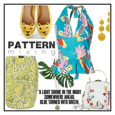 """""""Happy Summer"""" by dhieta17 on Polyvore featuring Charlotte Olympia, Isolda, Kenneth Jay Lane, printed, boldprint and patternmixing"""