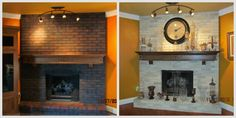 Paint away your winter blues and think spring! Check out this article on Spring Fireplace Cleaning and Decor! #Spring #Fireplacepainting #paintingfireplace #springcleaning