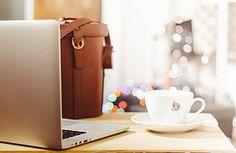 Desk, Table, Laptop, Notebook, Coffee