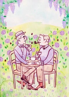 ghostbees:  Commission for shirelockhomes, who wanted some cute Holmes and Watson having tea in the garden! This was really nice to work on since I haven't been doing much watercolour and backgrounds lately.