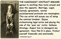 Narcissist is the contract breaker
