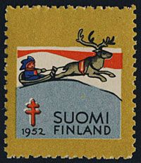 Finland 1952-Christmas seal Postage Stamp Art, Pretty Cards, Fauna, Christmas Images, Red Cross, Stamp Collecting, Lettering, Animals, Stamps