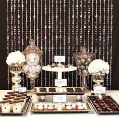 bead curtain dessert  buffet table backdrop