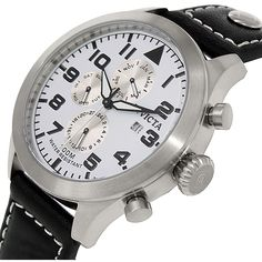 Invicta Men's I-Force 0351 Black Leather Swiss Quartz Watch