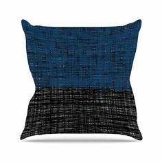KESS InHouse TK1072AOP03 18 x 18-Inch 'Trebam Platno Blue Black' Outdoor Throw Cushion - Multi-Colour ** To view further for this article, visit the image link. #GardenFurnitureandAccessories