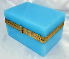 "Charming French Blue Opaline Glass & Gilt Metal Jewelry Box / Casket. 5 1/4""L x 3 1/2""W x 31/8""T.   sold Ruby Lane $765."
