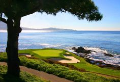 World famous Hole Number 7 at Pebble Beach Golf Course. Photo taken by Dave… Famous Golf Courses, Public Golf Courses, Golf Course Reviews, Golf Photography, Golf Quotes, Golf Lessons, Golf Humor, Funny Golf, Pebble Beach