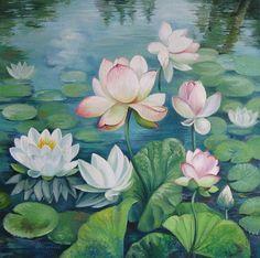 Lotus Flowers by Elena Oleniuc - Lotus Flowers Painting - Lotus Flowers Fine Art Prints and Posters for Sale Lotus Flower Art, Lotus Art, Lotus Flower Images, Blue Lotus, Water Lilies Painting, Lotus Painting, Lotus Drawing, Plant Drawing, Flower Painting Images