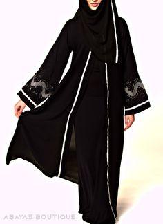 Romance Grey Embroidery Open style abaya