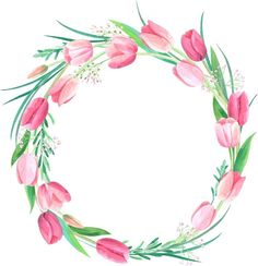 Watercolor Wreath of Tulips Wreath Watercolor, Watercolor Cards, Watercolor Flowers, Watercolor Paintings, Frame Floral, Flower Frame, Flower Art, Decoupage, Diy And Crafts