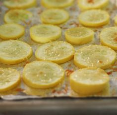Parmesan Yellow Squash: Line baking sheet with tinfoil. Slice yellow squash thinly and place in a single layer on baking sheet. Sprinkle with onion powder, garlic salt, and grated parmesan. Broil in oven until lightly toasted. Delicious!!