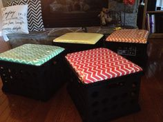 Crate seats we made for our classroom! Plywood, foam, and material. And super cute! Classroom Organization, Classroom Decor, Crate Seats, Elementary Education, Plywood, School Stuff, Crates, Diy Crafts, Teaching