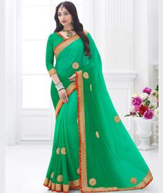 Buy Green Chiffon Party Wear Saree 76652 with blouse online at lowest price from vast collection of sarees at Indianclothstore.com.