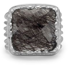 Square black rutilated quartz ring ($119) ❤ liked on Polyvore featuring jewelry, rings, square band ring, fancy jewelry, cutout ring, rutilated quartz rings and band jewelry