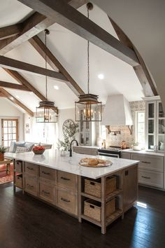 These beams from the Ignacio project made this living and kitchen area feel like one cohesive space.