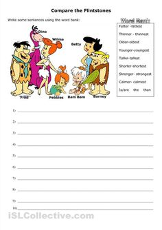 Comparatives and superlatives- The Flintstones! ESL