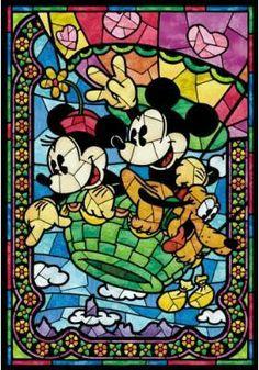 Mickey e Minnie vitral