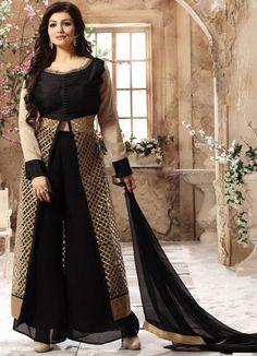 Ayesha Takia Black and Beige Palazzo Suit