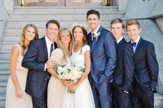 Peach and Navy Bridal Party - Elizabeth Anne Designs: The Wedding Blog