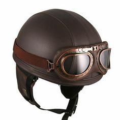Goggles Vintage German Style Retro Brown Half Helmet Motorcycle Scooter Bike   eBay