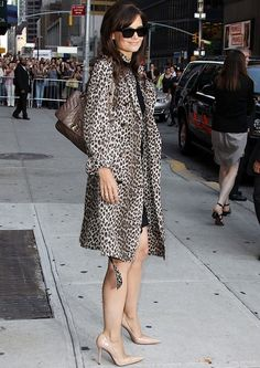 Katie: Head to toe elegance: black, nude, and leopard.