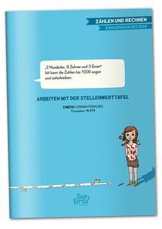 """""""'2 Hunderter, 8 Zehner und 3 Einer!' Ich kann die Zahlen bis 1000 lesen und aufschreiben."""" ARBEITEN MIT DER STELLENWERTTAFEL CHECK! Lernmaterialien, passend zur Kompetenz 15.073  Materialheft, 94 Seiten, A4, interaktives pdf-Dokument zum kostenlosen download liebevoll illustriert von Betie Pankoke Raup&Ritter Verlag Mannheim  Materialheft mit Kopiervorlagen zur Erstellung von Lehr-, Lern- und Übungsmaterial zum Arbeiten mit der Stellenwerttafel im ZR bis 1000. Movie Posters, Movies, Check, Numbers Preschool, Numeracy, Mathematics, First Class, Films, Film"""