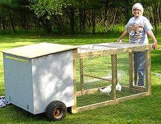 Mobile Chicken Coop, Portable Chicken Coop, Chicken Coup, Chicken Cages, Chicken Feeders, Chicken Garden, Backyard Chicken Coops, Chicken Coop Plans, Building A Chicken Coop