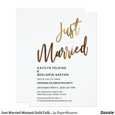 Shop Just Married Minimal Gold Calligraphy Reception Invitation created by PaperMuserie. Elopement Party, Elopement Reception, Elope Wedding, Wedding Tips, Wedding Cards, Our Wedding, Rustic Wedding, Wedding Planning, Dream Wedding