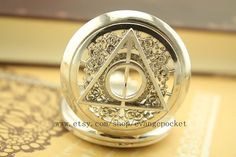 antique The Deathly Hallows  pocket watch jewelry men's necklace Wedding Gift steampunk style bronze
