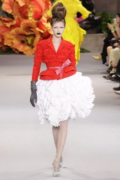 Christian Dior Couture  Fall 2010 Runway  floral white skirt