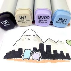 Hi from Denver! It's my first time here, so the skyline might not be very accurate  hihi. I'll be at Denver Comic Con this weekend! Come say Hi if you're there  I'll be at table AV241 ✨ #kawaii #かわいい #可愛い #copicmarkers #doodle #denvercomiccon #dcc #dcc2016