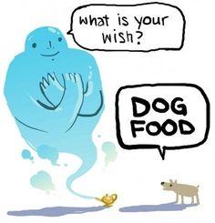 Hvis en hund opfylder Oil Lamp Genie