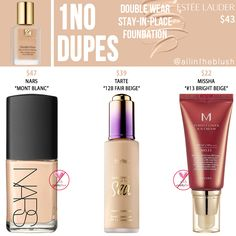 Estee Lauder Double Wear Stay-in-Place Foundation Dupes - All In The Blush Estee Lauder Foundation, Foundation Dupes, Lipstick Dupes, Drugstore Makeup, Types Of Foundation, Foundation Shade, Basic Makeup Kit, Nars Sheer Glow Foundation, Tarte Sea