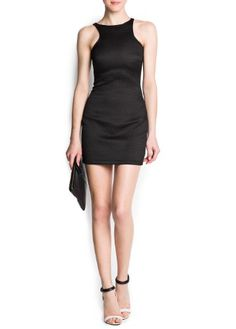 Mango Womens Textured Bodycon Dress, Black, 4 coupon  gamesinfomation.com