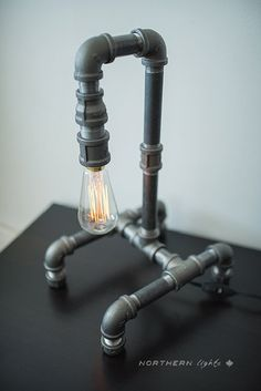 LAST ONE  Desk Table Pipe Lamp by NorthernLightsCanada on Etsy, $96.00