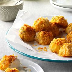 Bacon-Cheddar Potato Croquettes Recipe -Instead of throwing out leftover mashed potatoes use them to make croquettes The little baked balls are yummy with ranch dressing barbecue sauce or Dijon mayonnaise for dipping Pamela Shank Parkersburg West Virginia Croquettes Recipe, Potato Croquettes, Cheddar Potatoes, Leftover Mashed Potatoes, Bacon Potato, Baked Potatoes, Sweet Potato, Potluck Recipes, Appetizer Recipes