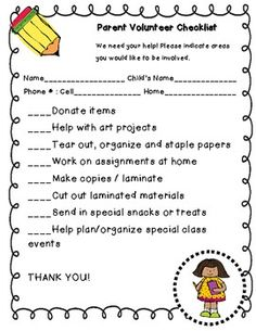 Helping Hands Parent Volunteer Form  For The Classroom