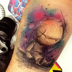 Marvin (The Hitchhiker's Guide to the Galaxy) Tattoo Watercolor by Dêner Silva in Ruan de Almeida
