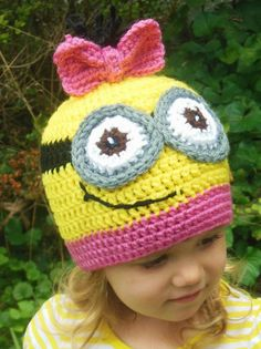 minion crochet hat pattern | Minion Hat Girls, Crochet Minion Hat, Yellow and Pink, Kids hat, Adult ...