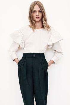 Zara #JoinLife Frill Sleeved Blouse, $99.90, available at Zara; Zara #JoinLife…