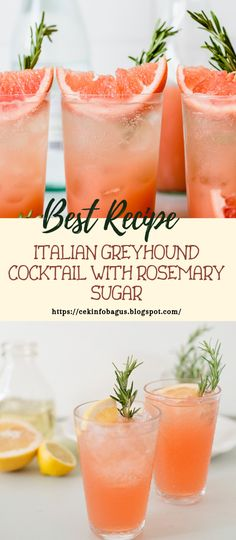Italian greyhound is an entirely pink gin mixed drink made with new grapefruit, Aperol alcohol and a shimmering rosemary sugar edge. Italian Cocktails, Cocktail Drinks, Fun Drinks, Healthy Drinks, Beverages, Cocktail Recipes For A Crowd, Easy Summer Cocktails, Food For A Crowd, Drinks Alcohol Recipes