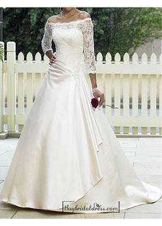 Beautiful Elegant Satin & Lace A-line Off-the-shoulder Wedding Dress In Great Handwork