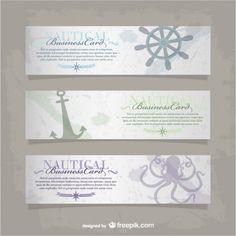 Vector nautical business card Free Vector