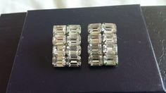 Signed vintage Weiss rhinestone clip earrings. Etsy shop owner vintagemadge