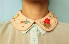 Hand Embroidered ' Microscopic Sea Creatures ' Peter Pan Collar by İrem Yazıcı