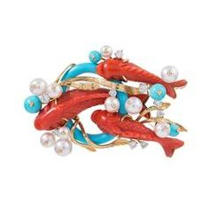 "Seaman Schepps Red Coral Turquoise Pearl Diamond Gold ""Koi"" brož"